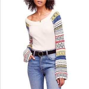 NWT Free People Mixed Print Bell Sleeve Sweater XS